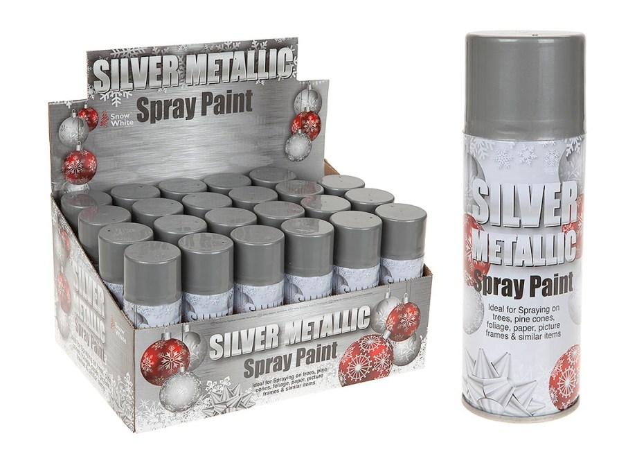 Srebrni sprej 250ml, Dekorativni srebrni metalizirani sprej. Srebrni sprej idealan za dekoriranje.