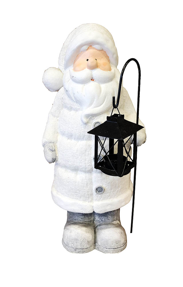Djed Božićnjak keramički ukrasni sa lanternom. Prekrasni božićni, keramički ukras.