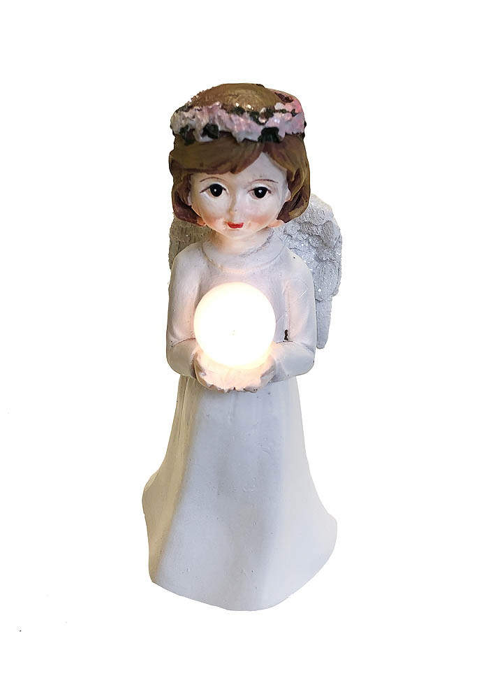 Anđeo sa svjetlom, keramički visine 14cm, na baterije. Prekrasni Anđeo visine 14 centimetara, sa svjetlećom kuglom.