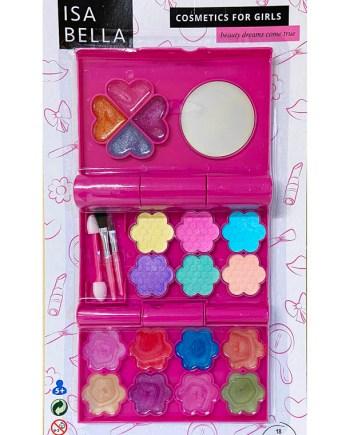 Šminka za curice, Sjenilo za oči + sjajilo za usne, 18 boja.Prekrasni set za šminkanje. Dolazi pakiran u plastičnoj, preklopnoj kutijici sa 6 raznobojnih sjenila za oči i 12 sjajila za usne.