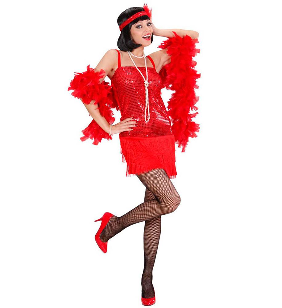 Kostim Charleston Crveni, karnevalski kostim veličine L je kostim namijenjen odraslima. Savršen je za lude partije, proslave Halloweena ili karnevalske povorke.