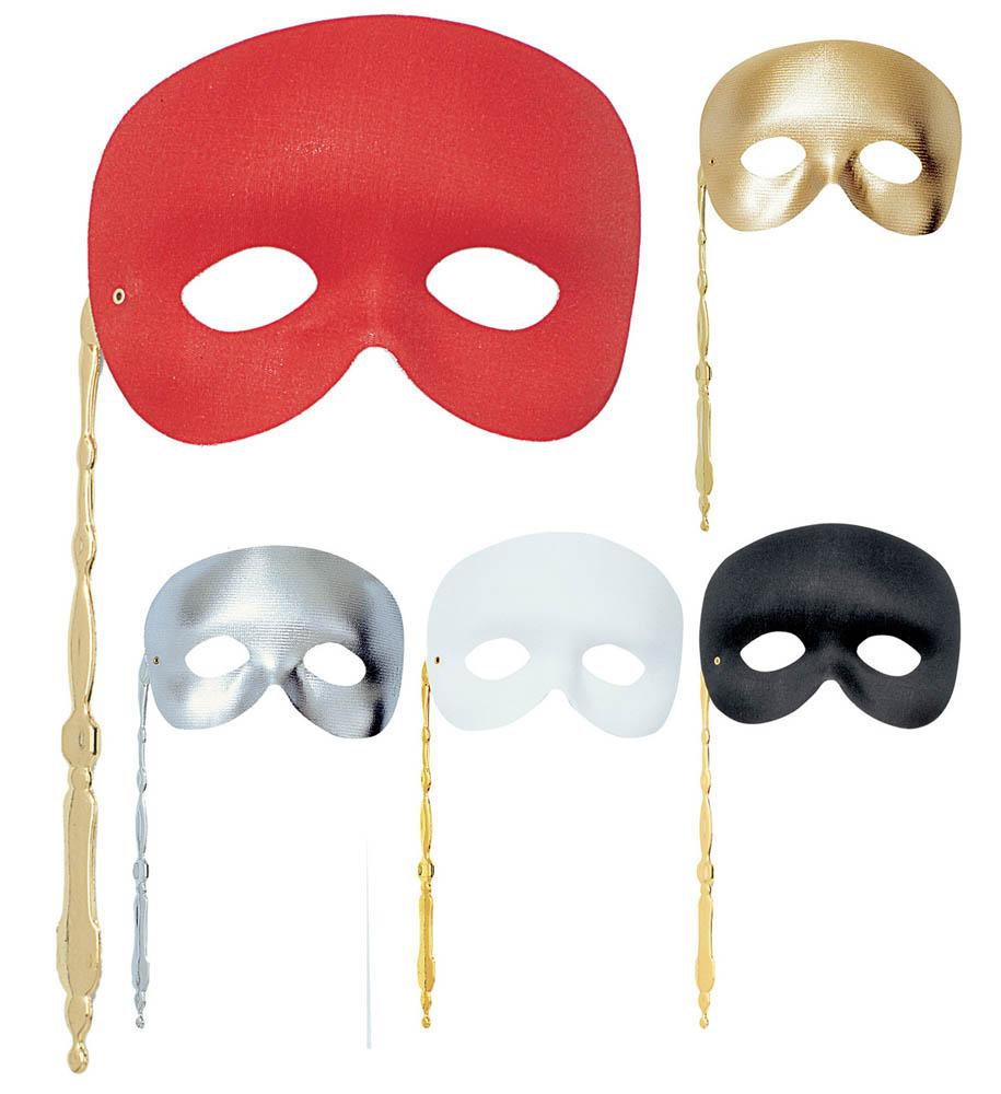 Krinka za lice, Karnevalska krinka sa štapićem. Ova karnevalska krinka za lice dolati u 5 različitih boja, crvenoj, zlatnoj, srebrnoj, bijeloj, crnoj.