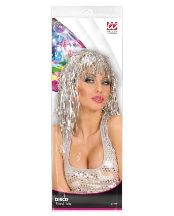 Perika Disco za odrasle, srebrne boje. Savršena je za maskiranje, lude partije, proslave Halloweena ili karnevalske povorke.