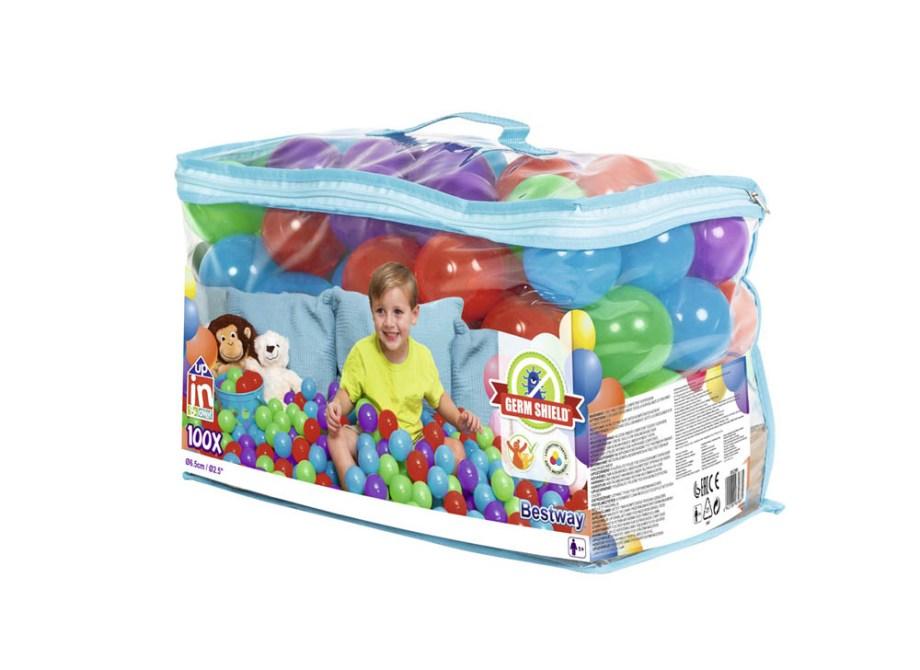 Loptice za bazen 100/1 sa antimikrobnim premazom Germshield. Pakiranje od 100 mekanih i šarenih plastičnih loptica promjera 6,5cm u vreći sa patentnim zatvaračem.