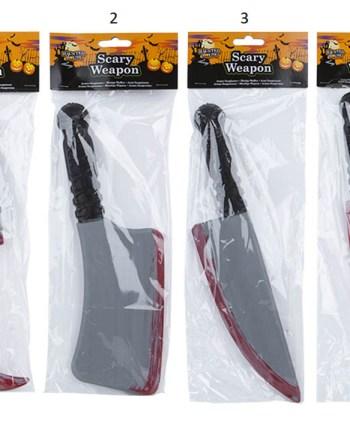 Karnevalski rekvizit oružje, plastično krvavo. Savršen je za lude partije, proslave Halloweena ili karnevalske povorke.