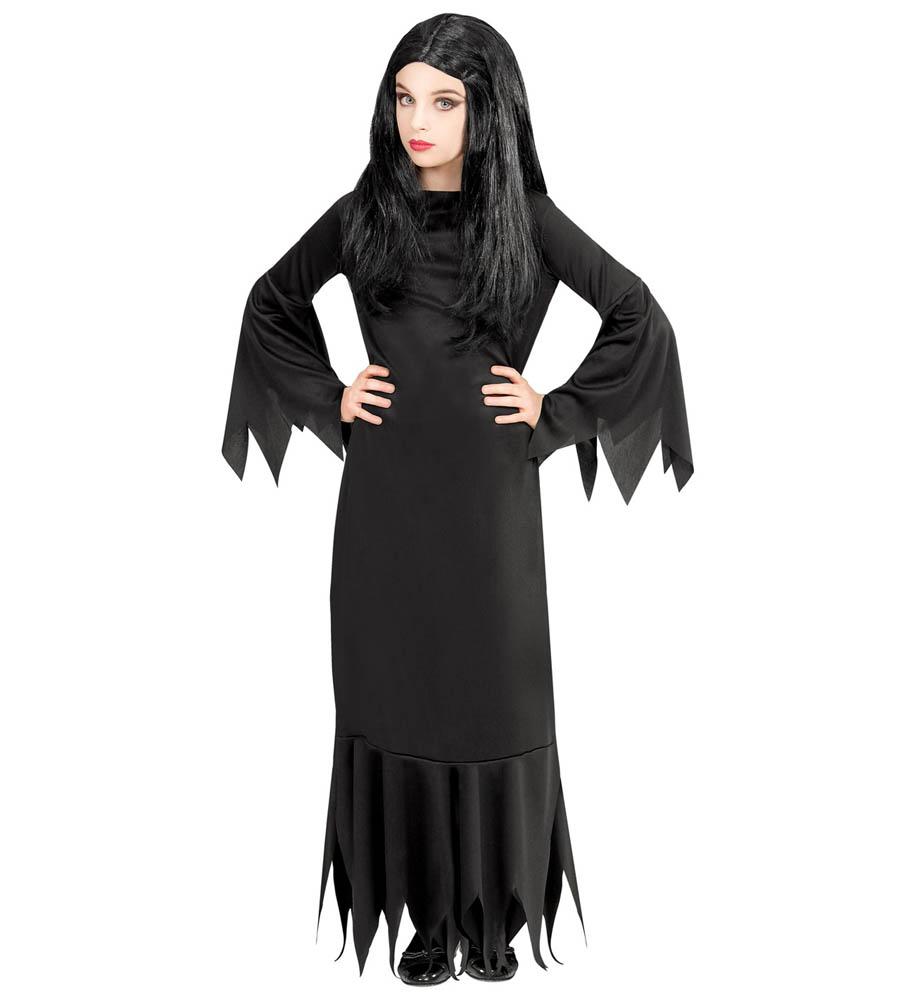 Kostim za karneval Mortisia namijenjen djeci od 11 do 13 godina. Savršen je za lude partije, proslave Halloweena ili karnevalske povorke.