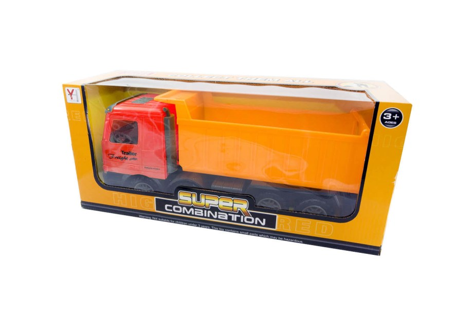 Kamion na frikciju sa 2 različite opcije; naranđasti kiper ili crveni sa traktorom. Ovi kamioni idelani su dodatak djetetovom voznom parku.