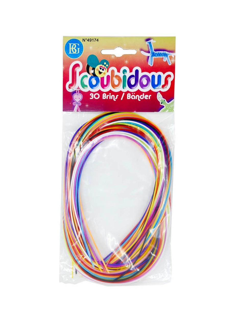 Scoubidous trakice za pletenje i izradu narukvica. U ovom praktičnom pakiranju nalazi se 30 raznobojnih plastičnih trakica dužine 80cm.
