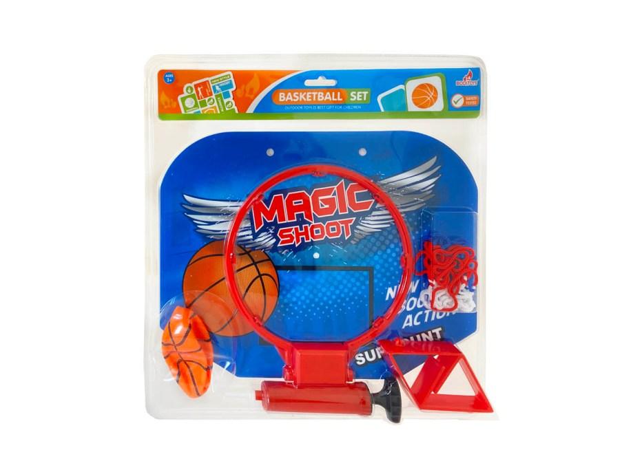 Sobni košarkaški set sa loptom, pumpom i mrežicom. Praktičan košarkaški sobni komplet u kojem se nalazi koš, tabla, mrežica, loptica, pumpa i držači koša i table.