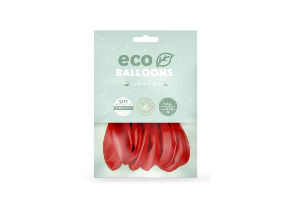 Baloni crveni 10 komada veličina 26cm. Baloni su proizvedeni od prirodnog biorazgradivog lateksa, sigurni su i laboratorijski ispitani.