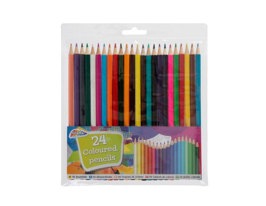 Drvene bojice u torbici, 24 raznobojne olovke. Komplet od 24 drvene bojice u raznim bojama. Olovke su pakirane u prozirnoj pvc vrećici.