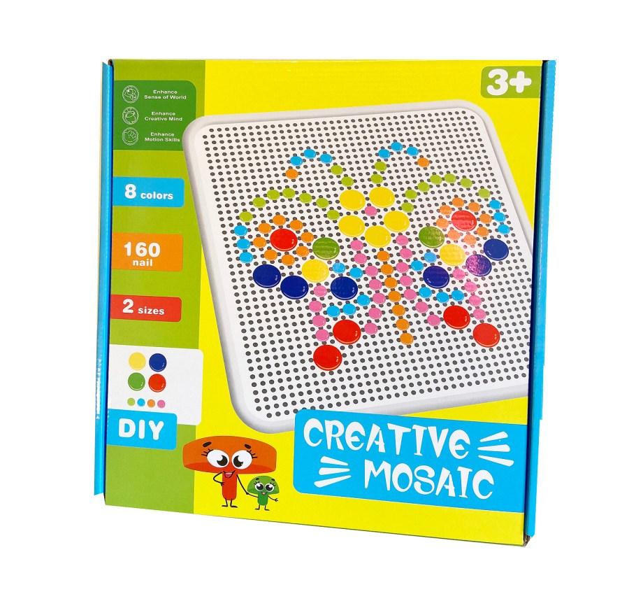 Igra čavlića 160kom, Kreativni mozaik. Veseli šareni čavlići idealni su za opuštanje, a uz njih djete razvija vizualanu percepciju, finu motoriku i koordinaciju oko-ruka.