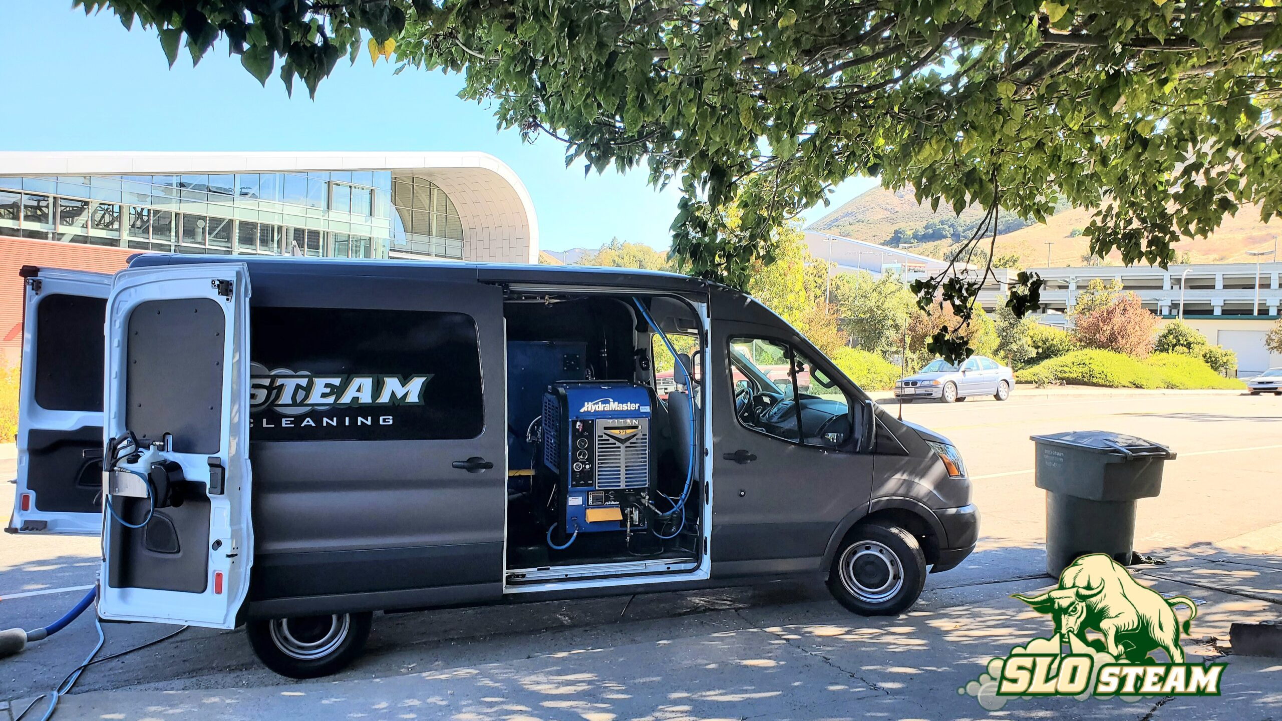 carpet cleaning van across the street from cal poly campus San Luis Obispo