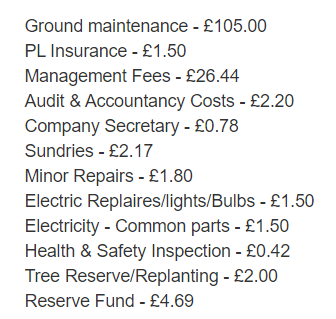 breakdown on service charges