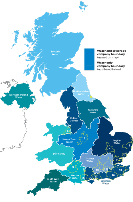 map of the water industry