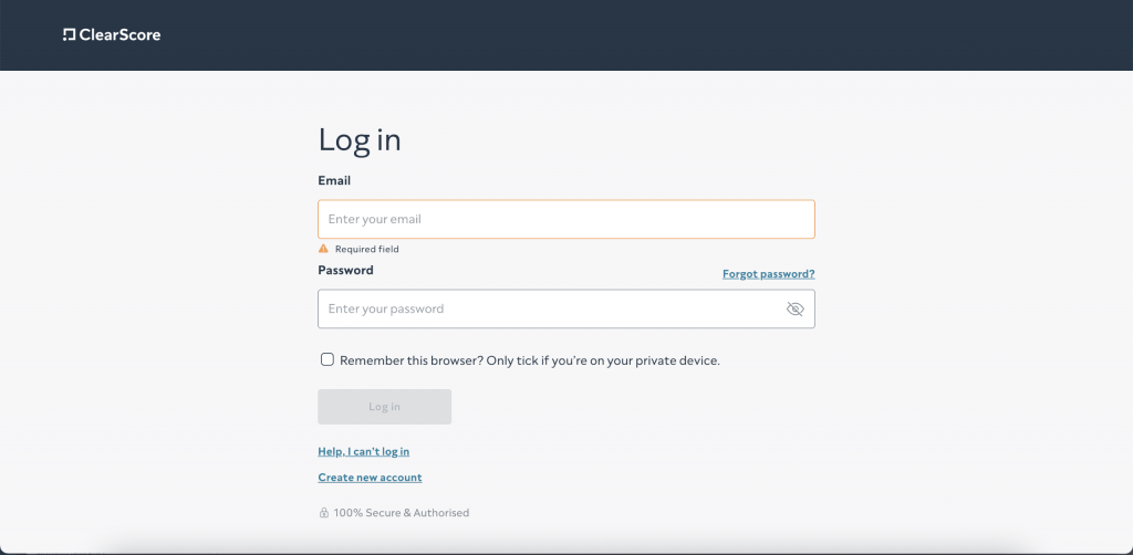 login page for clearscore.com