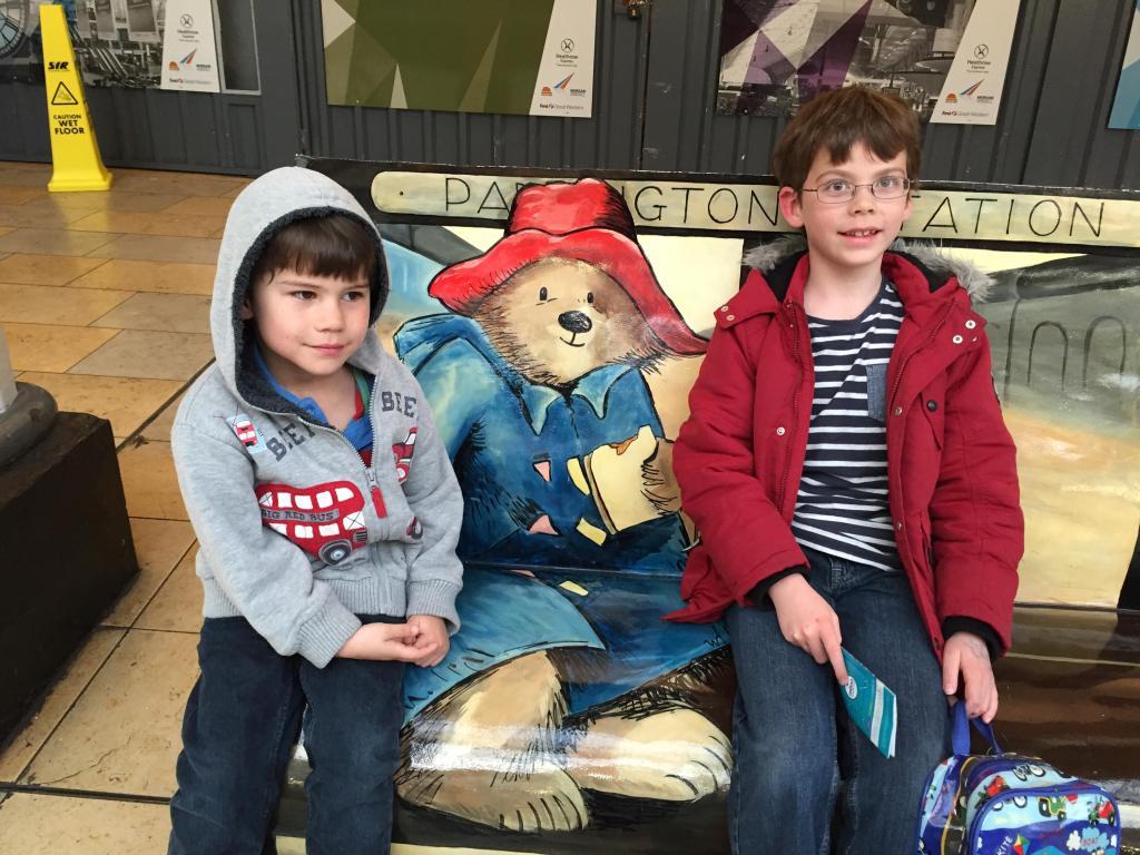 Toby and Isaac at Paddington station
