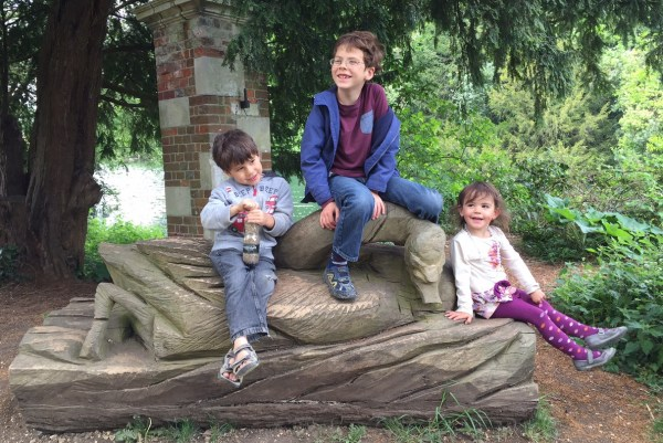 Three kids and a log