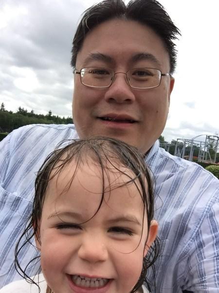 Daddy and Kara log flume Paultons Park