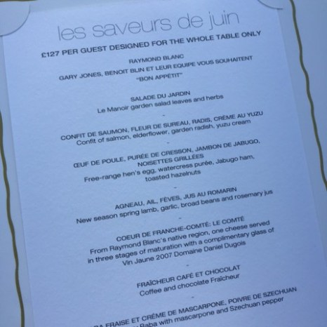 Le Manoir aux'Quat Saisons menu