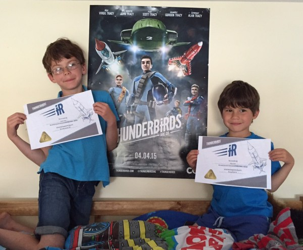 Isaac and Toby Thunderbirds certificates