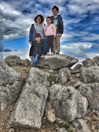 Weymouth Heather and kids on rocks