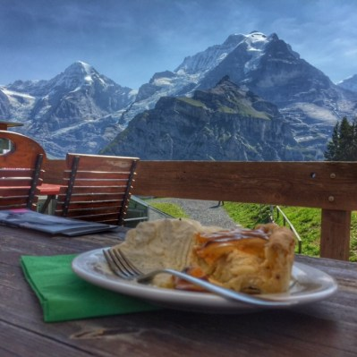 Summer holiday 2017 Schilthorn cake with Monch and Jungfrau view