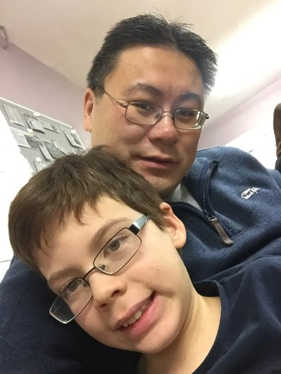 Isaac's 10th birthday letter selfie with Daddy