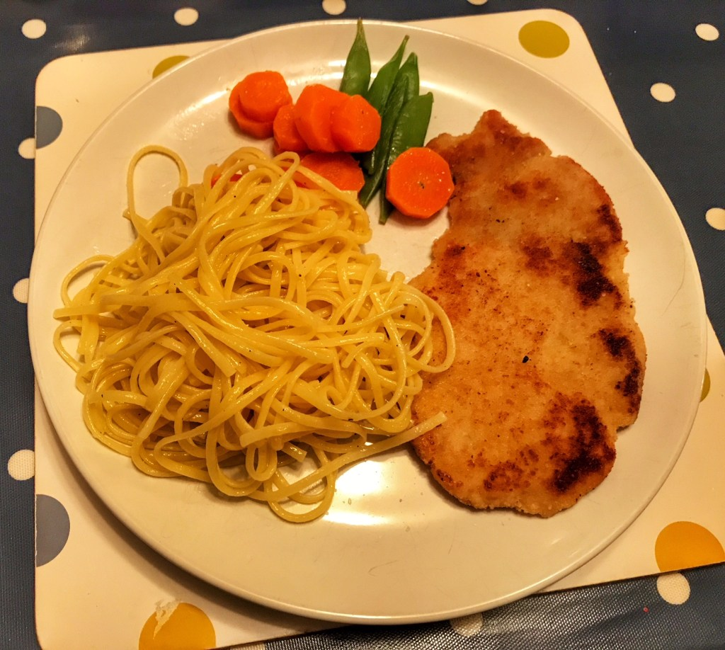 Schnitzel and buttered noodles my favourite things