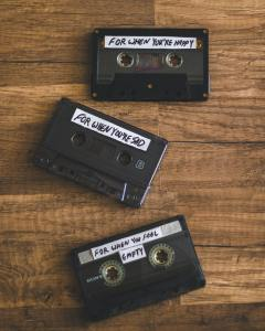 THree old-style audio cassettes