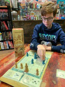 A boy playing a game