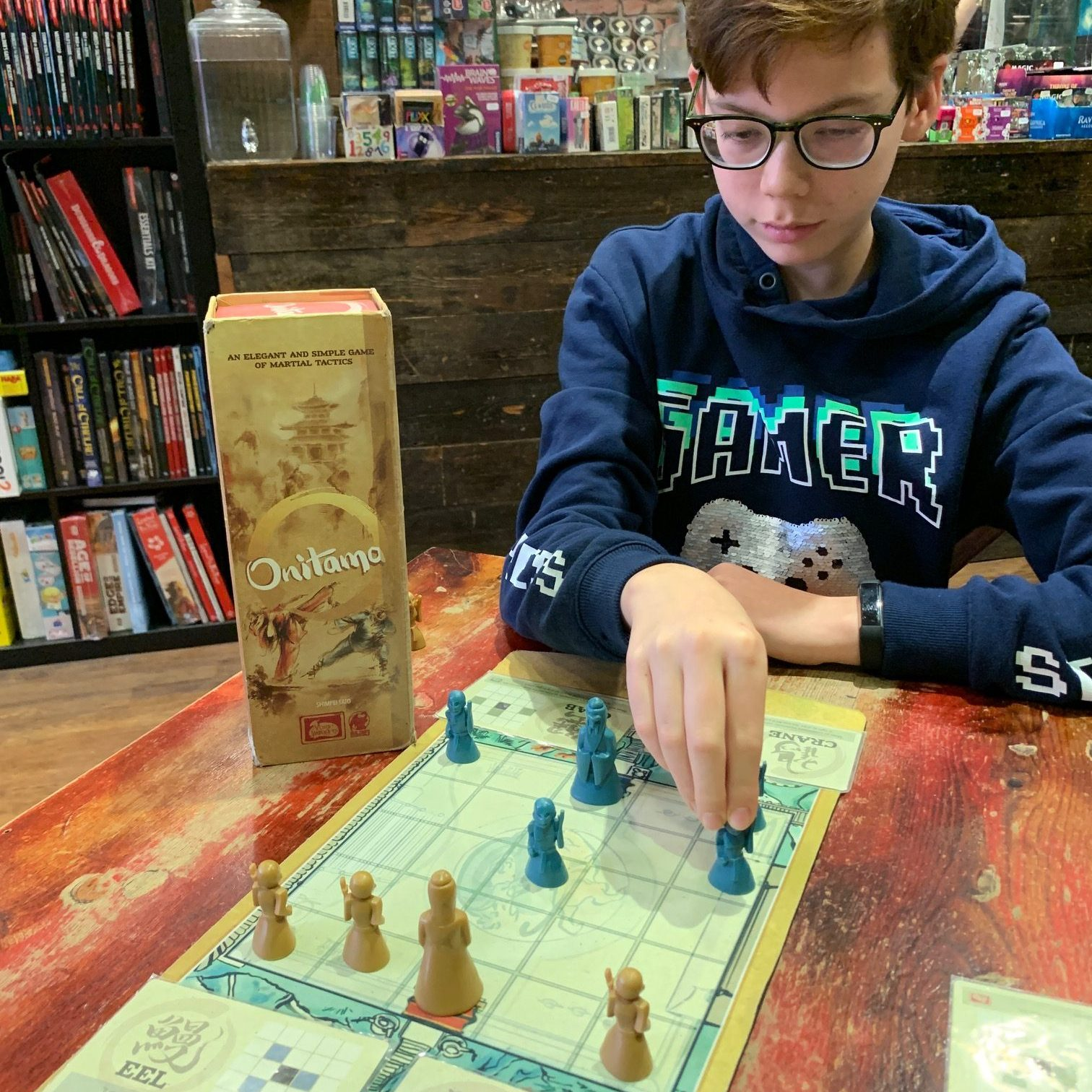 A boy playing a game