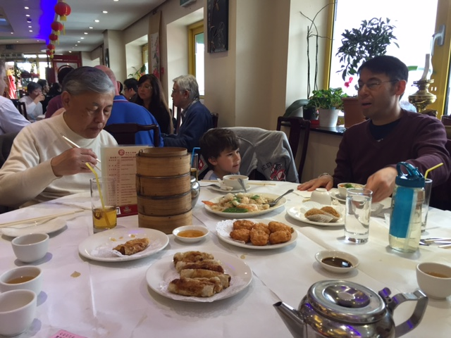 Grandpa, Toby and Uncle Peter dim sum
