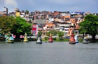 "Dique do Tororo lake with twelve sculptures of the ""Orixás"" (African deities)"