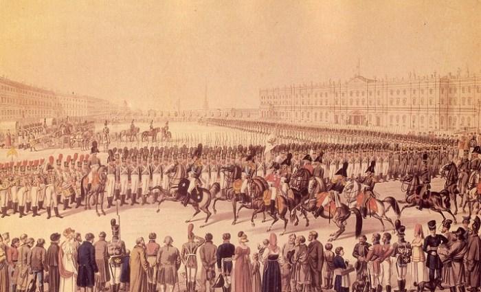 Смотр гвардейских частей на Дворцовой площади. Раскрашенная гравюра. 1810-е гг.