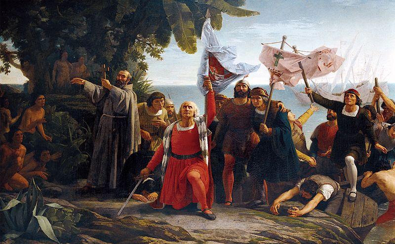 """Картина Д. Пуэблы """"Высадка Колумба"""""""