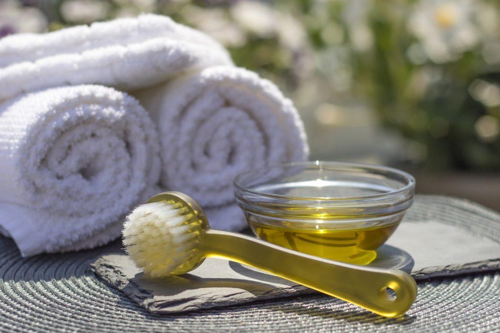 spa serviette towel huile massage oil zen
