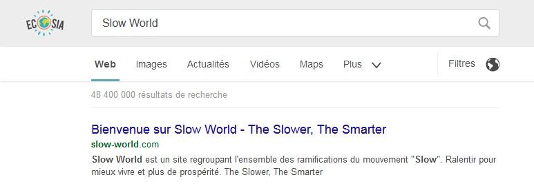 Ecosia Slow World ranking referencement SlowWorld