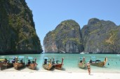 Long tail boats. Maya Beach, Koh Phi Phi. Photo: ©SLOWAHOLIC