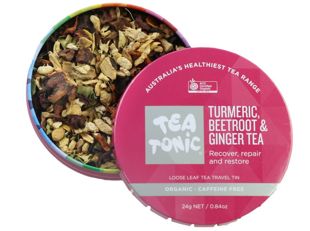 Tea Tonic Turmeric, Beetroot & Ginger Loose Leaf Tea Travel Tin at Slow Beauty Eco Salon in Canberra