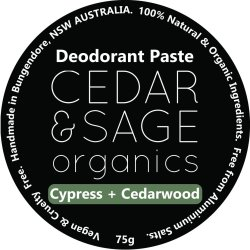 Cedar & Sage Organics Cypress & Cedarwood Deodorant Paste at Slow Beauty Eco Salon in Canberra