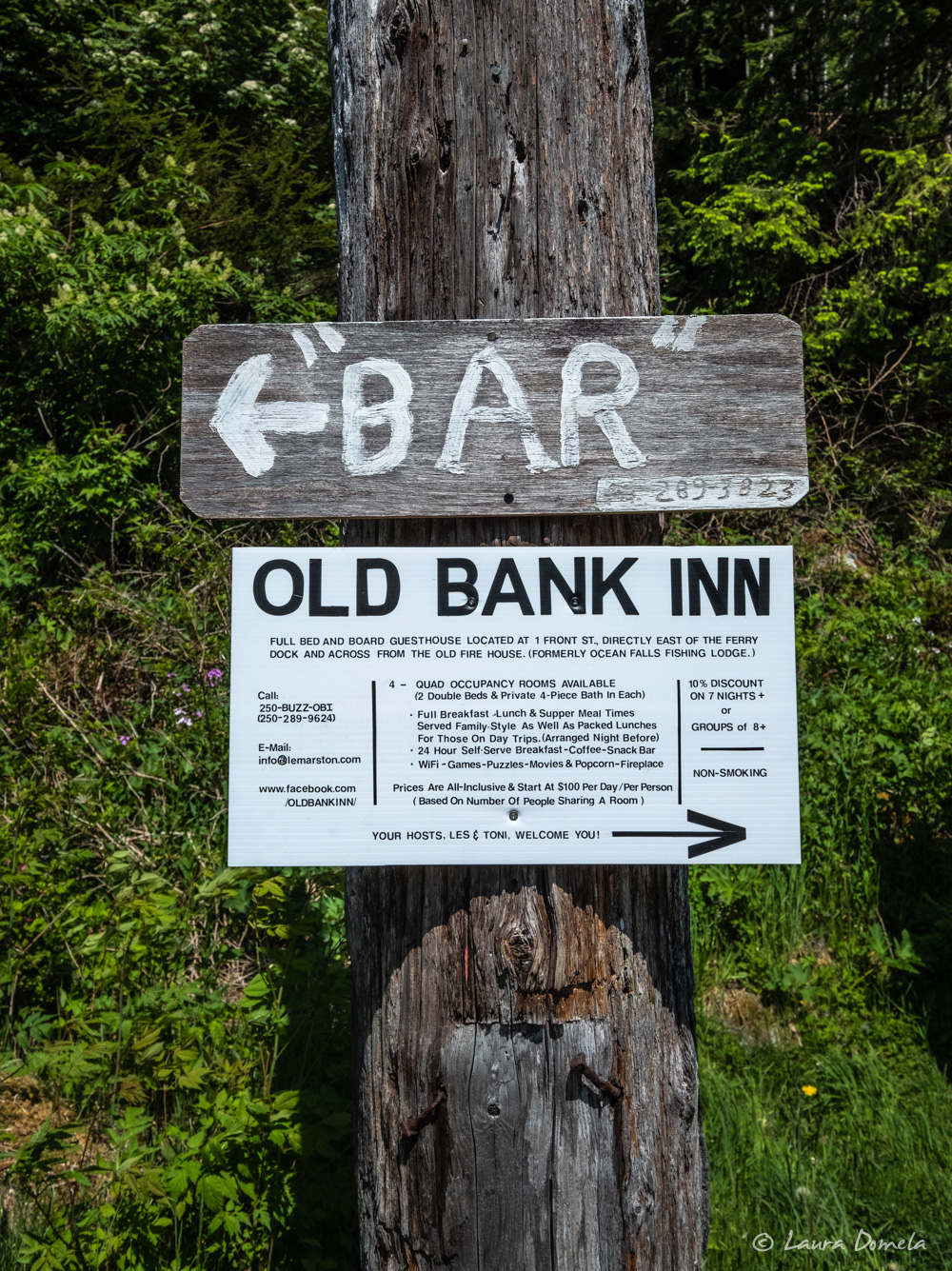 The Old Bank Inn used to be a privately owned fishing lodge. Now it's an inn with 6 rooms and 5 bathrooms.