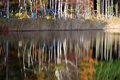 四尾連湖キャンプ場の朝