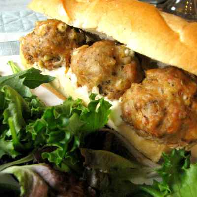 Slow Cooker Turkey and Goat Cheese Meatball Sandwiches