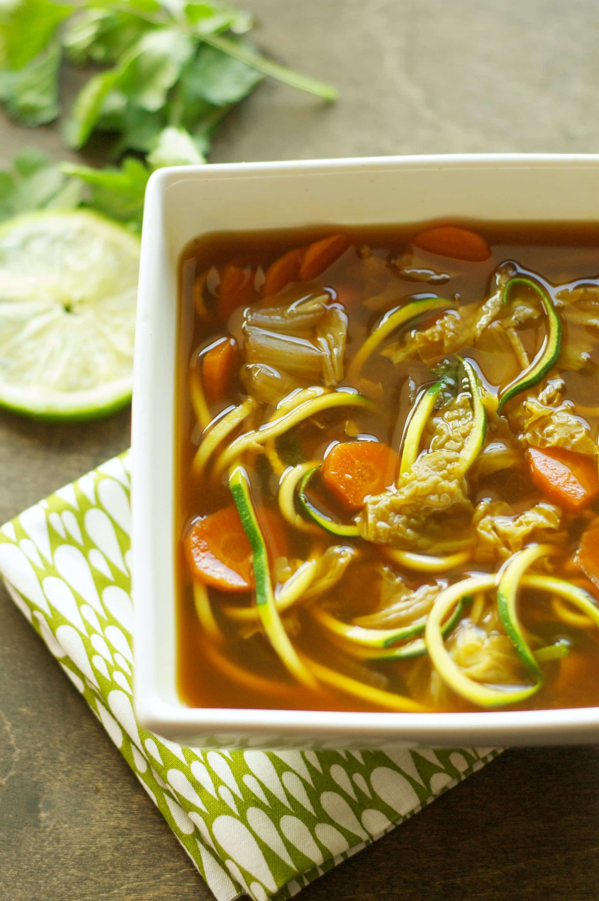 Slow Cooker Miso Vegetable Zoodle Soup