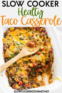 Sneaking vegetables into your kiddo's diet has never been so easy than with this delicious Slow Cooker Healthy Taco Casserole! #slowcookergourmet #slowcooker #healthy #tacocasserole #beef #collardgreens #bellpeppers #blackbeans