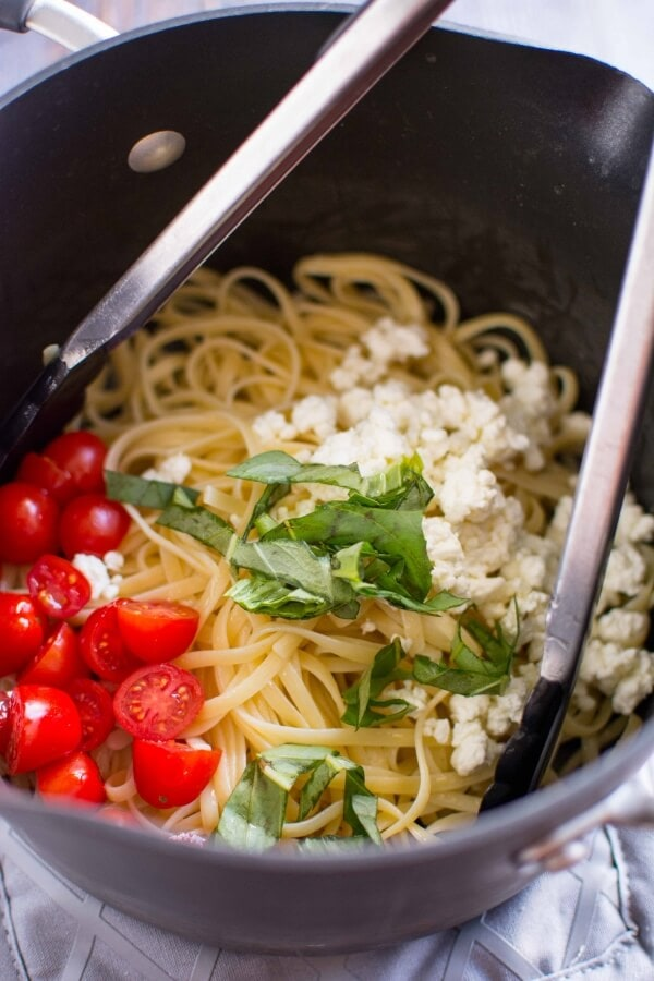 Tomato Basil and Goat Cheese Pasta