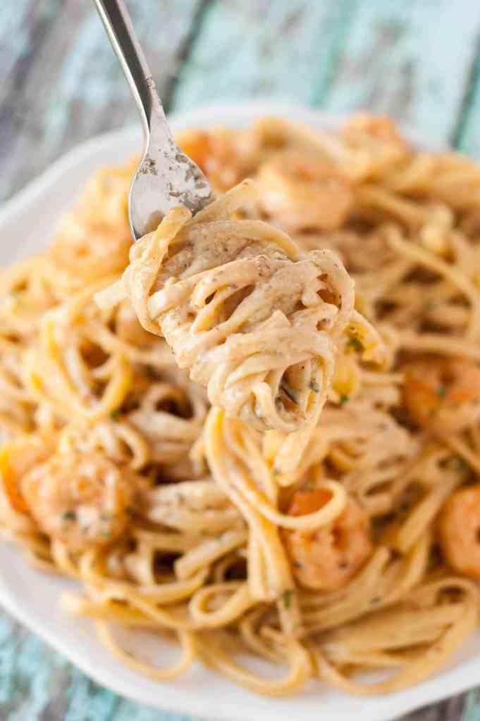 forkful of Cajun Shrimp Pasta