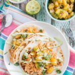 Slow Cooker Sriracha Chicken Tacos with Caramelized Pineapple Salsa