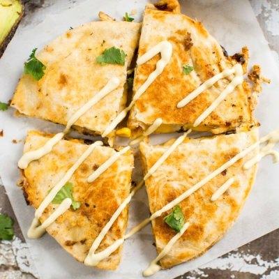 Southwest Chicken Quesadillas with Avocado Ranch